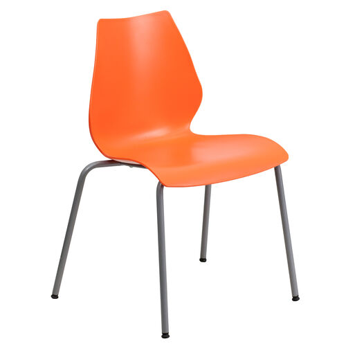 Our HERCULES Series 770 lb. Capacity Orange Stack Chair with Lumbar Support and Silver Frame is on sale now.
