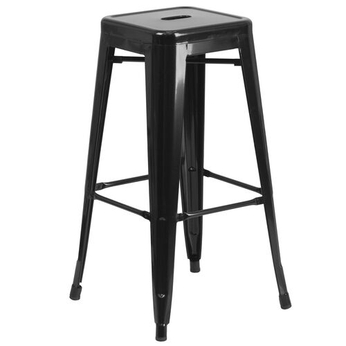 """Our Commercial Grade 30"""" High Backless Black Metal Indoor-Outdoor Barstool with Square Seat is on sale now."""