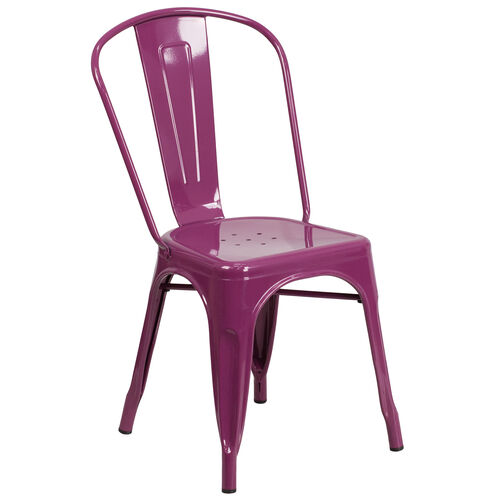 Our Commercial Grade Purple Metal Indoor-Outdoor Stackable Chair is on sale now.