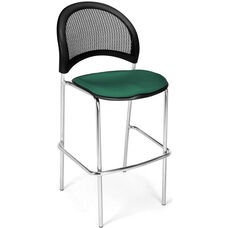 Moon Cafe Height Chair with Fabric Seat and Chrome Frame - Shamrock Green