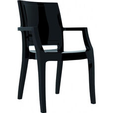 Arthur Polycarbonate Modern Stackable Dining Arm Chair - Glossy Black