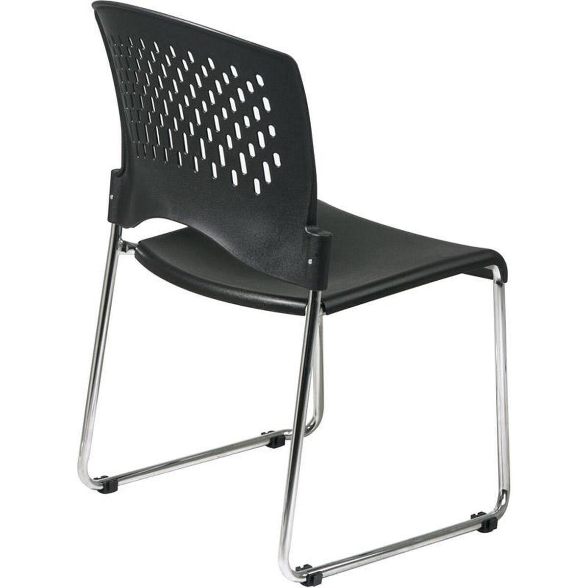 work smart chrome frame sled base stack chair with plastic seat and back set of 2 black. Black Bedroom Furniture Sets. Home Design Ideas