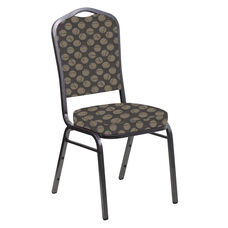 Embroidered Crown Back Banquet Chair in Cirque Sable Fabric - Silver Vein Frame