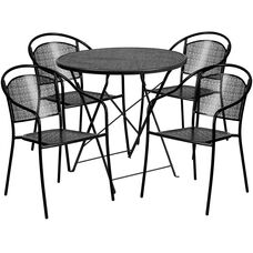 "Commercial Grade 30"" Round Black Indoor-Outdoor Steel Folding Patio Table Set with 4 Round Back Chairs"