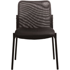 Essentials Mesh Upholstered Stacking Armless Side Chair - Black