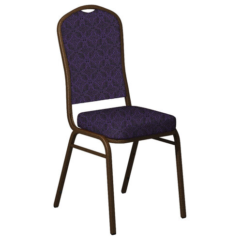 Embroidered Crown Back Banquet Chair in Faith Concord Fabric - Gold Vein Frame