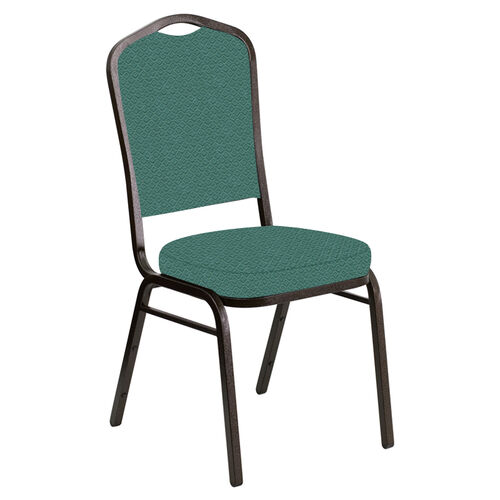 Embroidered Crown Back Banquet Chair in Venus Aloe Fabric - Gold Vein Frame
