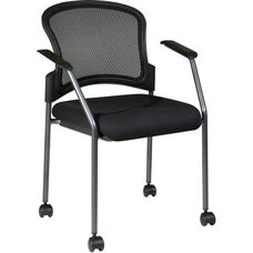 Pro-Line II ProGrid Mesh Back with Padded Fabric Seat Visitors Stack Chair with Casters - Black