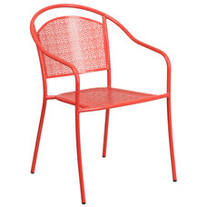 Commercial Grade Coral Indoor-Outdoor Steel Patio Arm Chair with Round Back