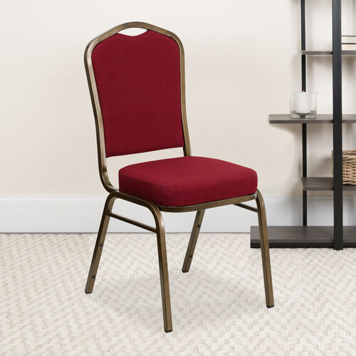 Our HERCULES Series Crown Back Stacking Banquet Chair in Burgundy Fabric - Gold Vein Frame is on sale now.