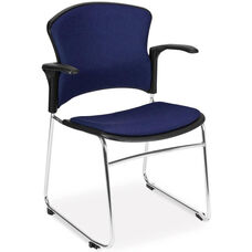 Multi-Use Stack Chair with Fabric Seat and Back with Arms - Navy