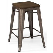 Dreux Rustic Matte Steel Stackable Counter Stool with Elm Wood Seat - Set of 4