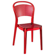 Bee Polycarbonate Stackable Dining Chair - Transparent Red