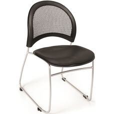 Moon Stack Chair with Vinyl Seat Cushion - Black