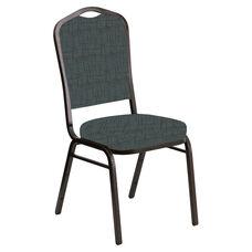 Crown Back Banquet Chair in Amaze Azure Fabric - Gold Vein Frame
