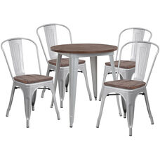 "26"" Round Silver Metal Table Set with Wood Top and 4 Stack Chairs"