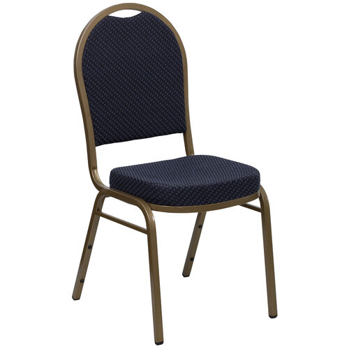 Our HERCULES Series Dome Back Stacking Banquet Chair in Navy Patterned Fabric - Gold Frame is on sale now.
