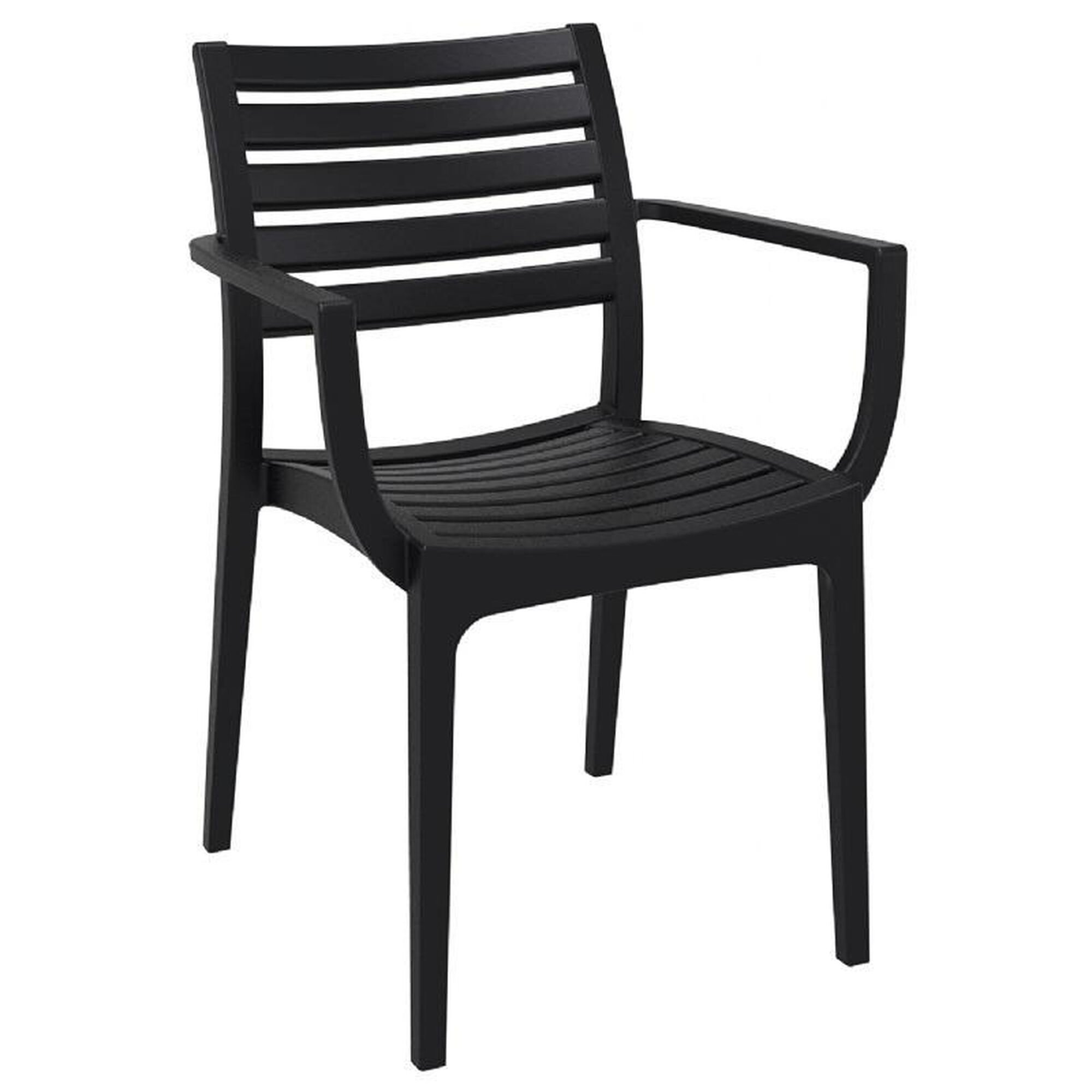 Terrific Artemis Resin Outdoor Stackable Dining Arm Chair Black Ncnpc Chair Design For Home Ncnpcorg