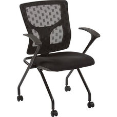 Pro-Line II ProGrid Checkered Mesh Back Folding Chair - Set of 2 - Black and Coal