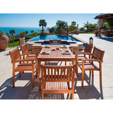 Malibu Outdoor 7 Piece Wood Dining Set with Table and 6 Stacking Armchairs