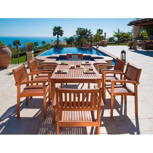 Our Malibu Outdoor 7 Piece Wood Dining Set with Table and 6 Stacking Armchairs is on sale now.