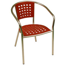 South Beach Hand Polished Tubular Aluminum Stackable Club Chair - Red