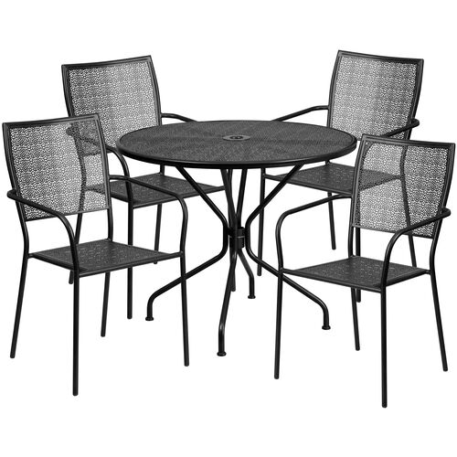 "Our Commercial Grade 35.25"" Round Black Indoor-Outdoor Steel Patio Table Set with 4 Square Back Chairs is on sale now."