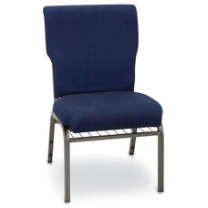 Auditorium Steel Frame Fabric Upholstered Stacking Chair - Navy Blue