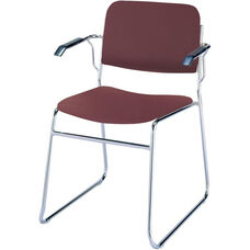 Quick Ship 300 Series Stacking Steel Frame Guest Armchair with Chrome Sled Base and 1.5