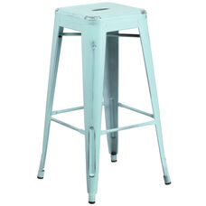 """Commercial Grade 30"""" High Backless Distressed Green-Blue Metal Indoor-Outdoor Barstool"""