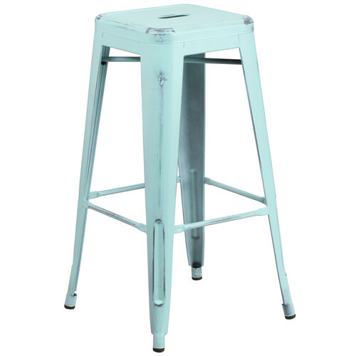 """Our Commercial Grade 30"""" High Backless Distressed Green-Blue Metal Indoor-Outdoor Barstool is on sale now."""