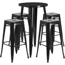 """Commercial Grade 24"""" Round Black Metal Indoor-Outdoor Bar Table Set with 4 Square Seat Backless Stools"""