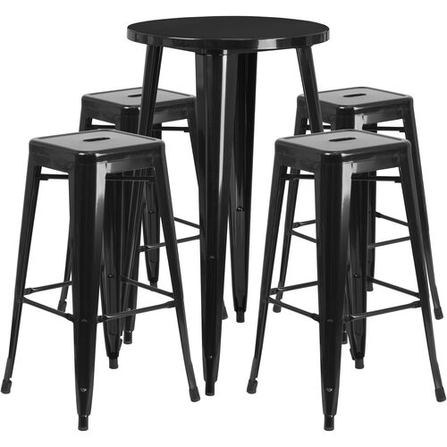Wondrous Commercial Grade 24 Round Black Metal Indoor Outdoor Bar Table Set With 4 Square Seat Backless Stools Ibusinesslaw Wood Chair Design Ideas Ibusinesslaworg