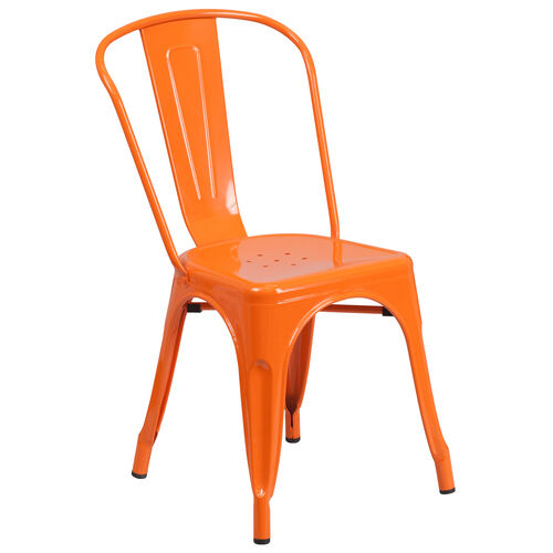 Our Orange Metal Indoor-Outdoor Stackable Chair is on sale now.
