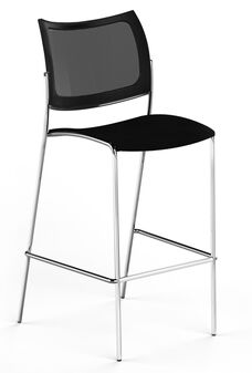 Bistro Escalate Stool with Mesh Back and Plastic Seat - Set of 2 - Black