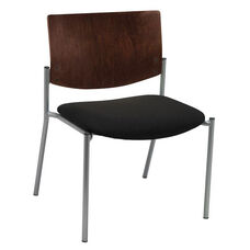 1300 Series Extra Wide Stacking Armless Guest Chair with Chocolate Wood Back - Grade 2 Upholstered Seat