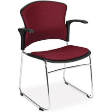 Multi-Use Stack Chair with Fabric Seat and Back with Arms - Wine