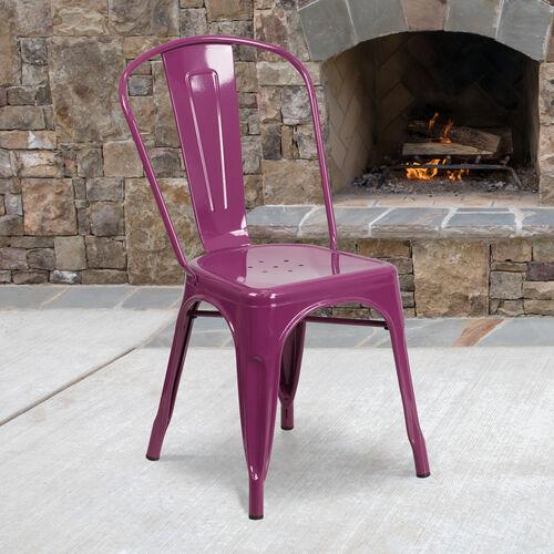 Commercial Grade Purple Metal Indoor-Outdoor Stackable Chair