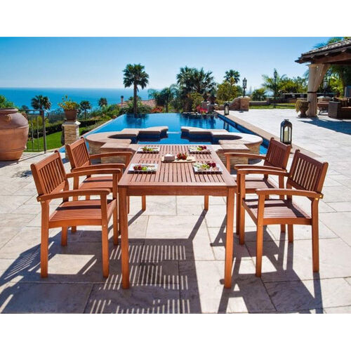 Our Malibu Outdoor 5 Piece Wood Dining Set with Rectangular Table and 4 Stacking Armchairs is on sale now.