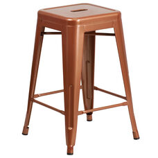 "Commercial Grade 24"" High Backless Copper Indoor-Outdoor Counter Height Stool"