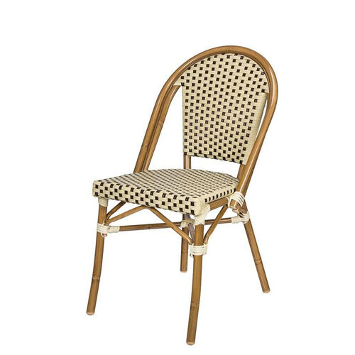 Our Paris Indoor/Outdoor Stackable Armless Side Chair with Light Bamboo Aluminum Frame - Cream and Chocolate is on sale now.
