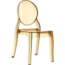 Elizabeth Polycarbonate Stackable Dining Chair with Oval Back - Transparent Amber