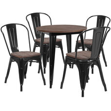 "26"" Round Black Metal Table Set with Wood Top and 4 Stack Chairs"