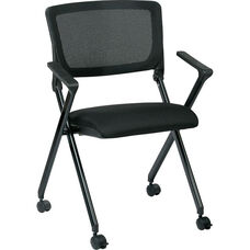 Work Smart Nesting Folding Chair with Screen Back and Padded Seat - Set of 2 - Black
