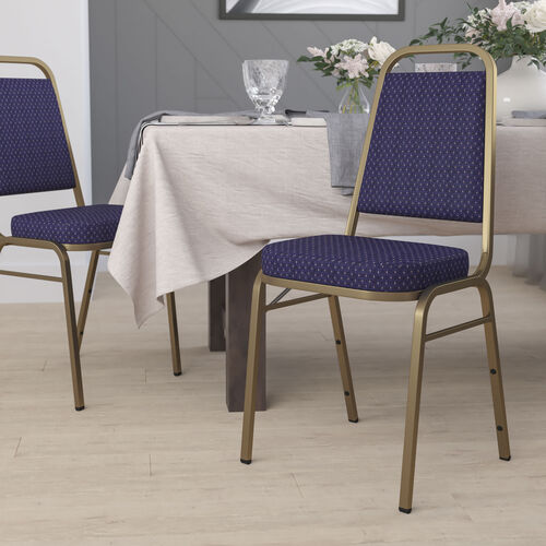 HERCULES Series Trapezoidal Back Stacking Banquet Chair in Navy Patterned Fabric - Gold Frame