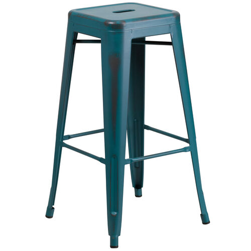 "Our Commercial Grade 30"" High Backless Distressed Kelly Blue-Teal Metal Indoor-Outdoor Barstool is on sale now."