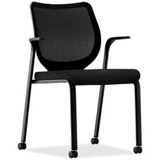 The HON Company Nucleus Series Stacking Multi-Purpose Black Frame Armchair with Black Seat