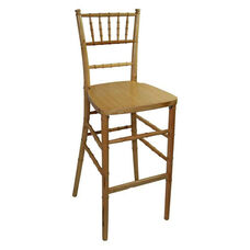 Legacy Series Stacking Wood Gloss Finish Chiavari Bar Stool - Natural