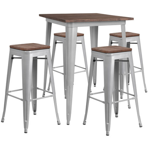 "Our 31.5"" Square Silver Metal Bar Table Set with Wood Top and 4 Backless Stools is on sale now."