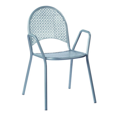 Our Work Smart Metal Stacking Chairs with Arms - Set of 4 - Grey is on sale now.